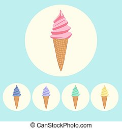 Set of ice cream cones in different colors