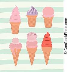 set of ice cream cones over decorative lines color background