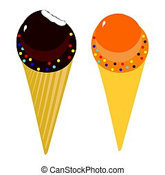 Set of Ice Cream Cones - Tasty Ice Cream Cones in multiple...