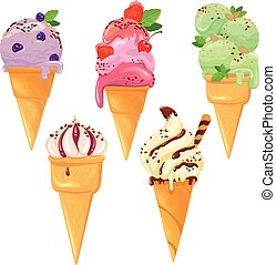Set of Ice cream cones with glaze, Chocolate, strawberry, blueberry and cherry, isolated on white background.