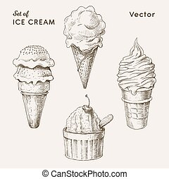 set of ice cream drawings in vintage style. vector illustration