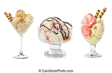 Set of ice cream in glass vase isolated on white