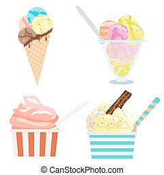 set of ice cream on white. vector illustration