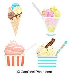 set of ice cream on white. vector illustration