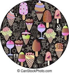 set, of-ice-cream, scarabocchiare, hand-drawn, oggetti, cartone animato