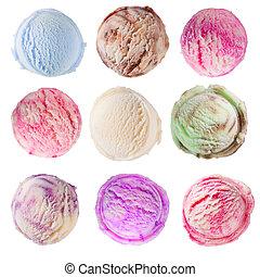Set of ice cream scoops on white background - Studio shot of...