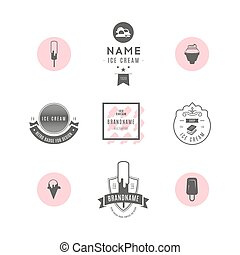 Set of ice-cream shop labels, logotypes and design elements. Vintage collection of different ice cream elements. Cold desserts and ice cream objects. Vector elements for design. Ice cream silhouettes.