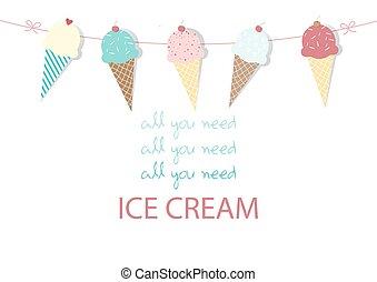 Set of ice cream,Design,card,Vector