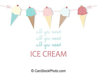 Set of ice cream,Design,card,Vector