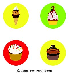 Set of ice creams and cupcakes