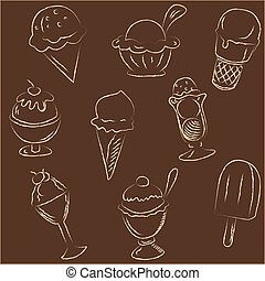 Set of ice creams sketches