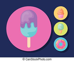 set of ice creams with cupcake and donut