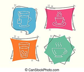 Ice tea, Tea cup and Coffee icons. Soda beverage, Coffee mug, Glass mug. Cappuccino.
