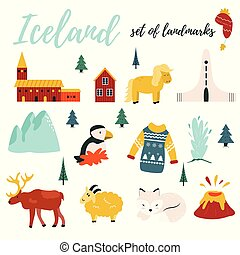 Set of Iceland symbols and tourist attractions