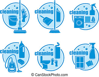 Set of icon cleaning on a white background