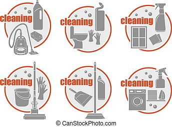 Set of icon cleaning. Vector illustration