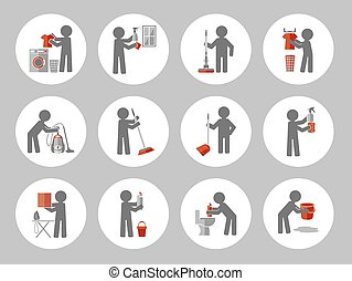 Set of icon cleaning with figure people. Vector illustration