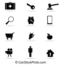 set of icon in black vector illustration