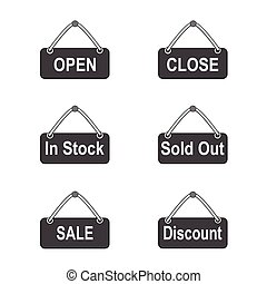 Set of icon signs with open and sale