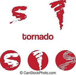 Set of icon tornado. Vector illustration