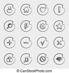 Vector icon set in outline style.