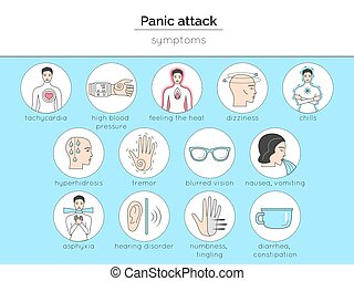 Set of icons about panic attack symptoms. Isolated pictures...