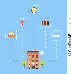 Set of Icons above Hotel with Trees Illustration
