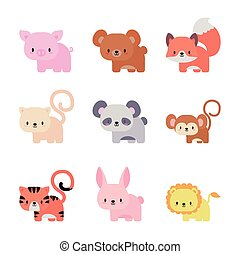 set of icons animals baby kawaii, flat style icon