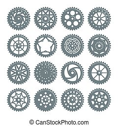Set of icons bicycle chainring