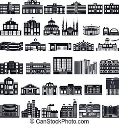 Set of icons buildings. Vector series, flat.