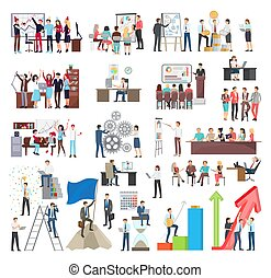Set of Icons Business Theme Vector Illustration
