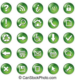 Set of icons, buttons - Set of shiny, button icons %u2013...