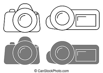 Set of icons. Camera sign and the camcorder symbol. Vector...