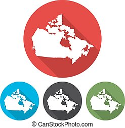 Set of icons Canada map in a flat design