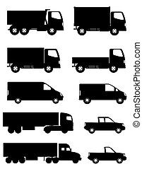 set of icons cars and truck for transportation cargo black silho