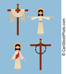 set of icons christianity religious symbol