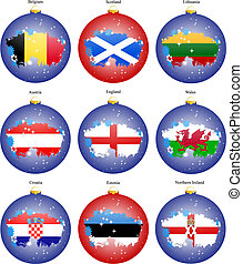 Set of icons. Christmas tree balls with flags of the Europe.