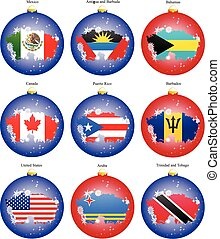 Set of icons. Christmas tree balls with flags of the North...