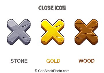Set of icons close the golden, wooden and stone cross mark.