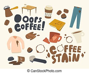 Set of Icons Coffee Stains. Cezve with Boiling Beverage, Shirt and Pants with Spots, Coffee Machine Filter, Broken Cup