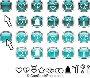 Set of icons. - Collection of buttons. Vector illustration.