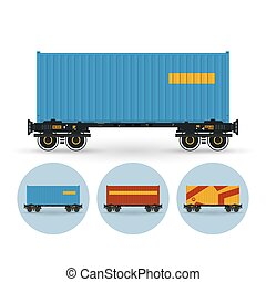 Set of icons colored the containers on a railway container...