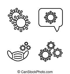 set of icons coronavirus protection, protective measures, coronavirus symptoms vector illustration design