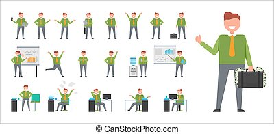 Set of Icons Depicting Businessman Isolated Vector