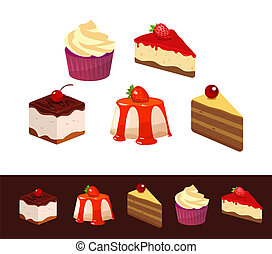 Set of Icons, Dessert Dishes, Vector Illustration isolated on white and black dark background