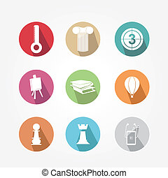 Set of icons - round and colorful, vintage