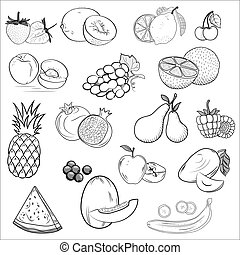 Set of icons drawn fruit.