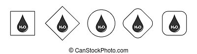 Set of icons. Drop with water formula. Simple design.