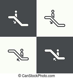 Set of icons escalator