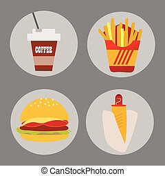 Set of icons fast food coffee potato hamburger hot dog on a background